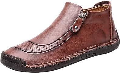 FRAUIT Stivali Uomo Cuoio Mocassini Ragazzo Eleganti Pelle Stivaletti Vintage Scarponcini Trekking Uomo Impermeabili Sneakers Alte Scarpe Antinfortunistica Uomini Leggere E Comode Polacchine Boots