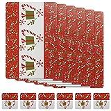Kesote Set di 6 Tovagliette di Natale + 6 Coasters Riutilizzabili Tovagliette di PVC con Disegni di Fiori e Regali, 42 x 28cm (Tavagliette) & 10 x 10cm (Coasters)