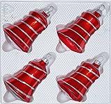 4 TLG. Glas-Glocken Set in Hochglanz Rot Candy Christbaumkugeln - Weihnachtsschmuck-Christbaumschmuck