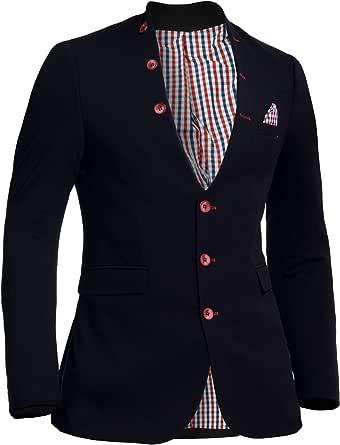 D&R Fashion Men's Knitted Jacket Waistcoat Look Blazer Grandad Shawl Collar Slim Fit