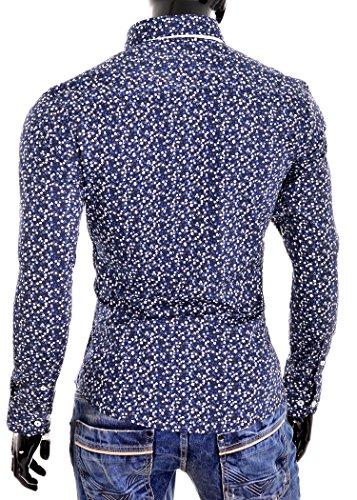 D&R Fashion Männer Slim Fit Shirt mit Blumenmuster und Button-down-Kragen Navy Blau