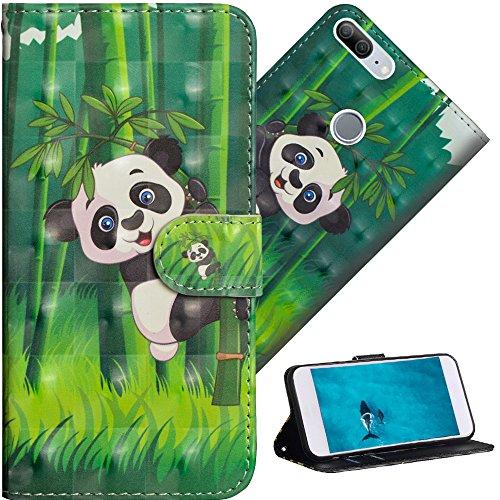 COTDINFOR Huawei Honor 9 Lite Hülle für Geschenk Lederhülle 3D-Effekt Kartenfächer Schutzhülle Protective Handy Tasche Schale Standfunktion Etui für Huawei Honor 9 Lite Climbing Bamboo Panda YX.