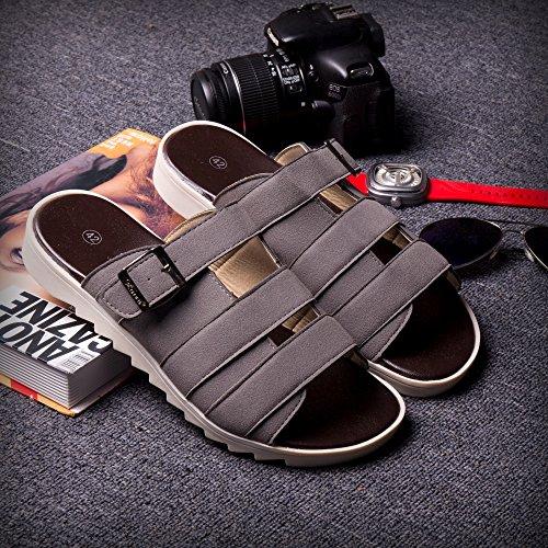 Xing Lin Herren Sandalen Sommer Trend Flop Sandalen Flip Riegel Spitze Hausschuhe Mode Hausschuhe Schuhe 44082 Grey'S Neue Hausschuhe Badeschuhe Männer (Riegel Keil)