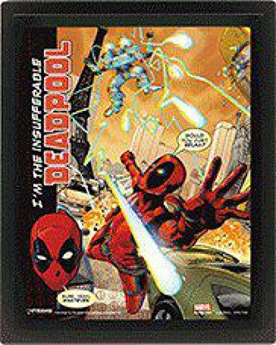 1art1® Deadpool - Attaque Póster 3D Enmarcado 25