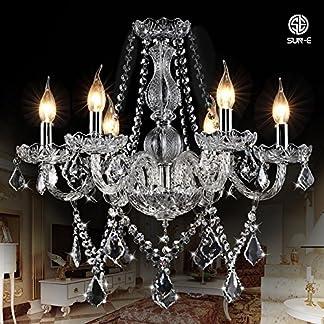 SUN-E Lampadario di cristallo classico a forma di foglia di acero lampada a sospensione a forma di foglia di cristallo classico candela di cristallo K9 (con istruzioni dettagliate)