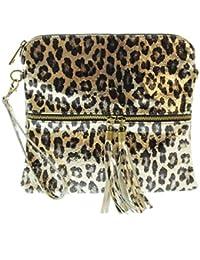 CTM Pochette da donna, borsetta a mano in vera pelle made in Italy, fantasia Animalier con tracolla 25x23.5x2 Cm