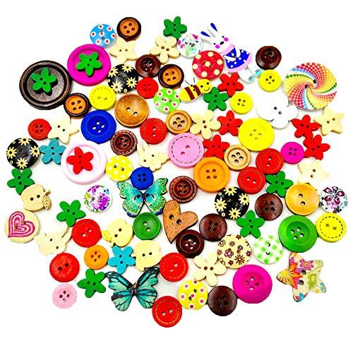 Konrisa Manualidades Botón para Costura Botón de Madera Pequeño Color Mezclado Botones de 2 y 4 agujeros para la ropa del bebé Proyecto de pintura hecha a mano DIY Decoración del hogar, 40 g / bolsa