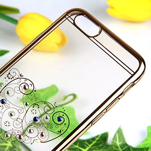iPhone 6 Silikon Hülle,iPhone 6S Case - Felfy Ultra Slim weicher Gel TPU Transparent Handyhülle Schutzhülle Ultradünnen Kratzfeste Plating Bling Funkeln Diamant Transparenter Freier Case Tasche Etui f Big Love