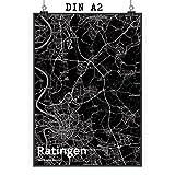 Mr. & Mrs. Panda Poster DIN A2 Stadt Ratingen Stadt Black -