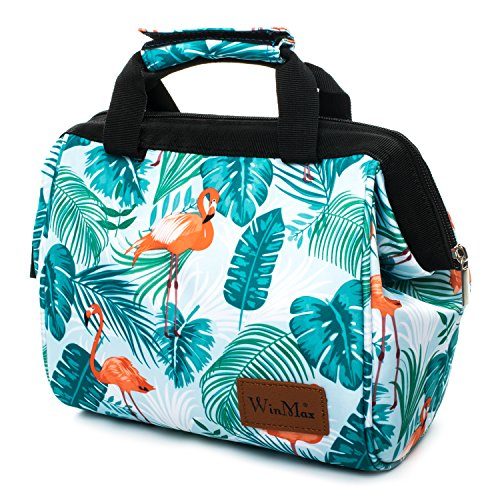 Borsa termica impermeabile borsa porta pranzo borsa frigo borsa pranzo pieghevole termico lunch bag per adulto e bambini con maniglia durevole, fenicottero