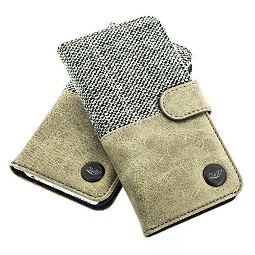 QIOTTI iPhone 6s iPhone 6 Lederhülle mit Kartenfach & Magnetverschluss I inkl. Panzerglas I Flip Case Handyhülle – (WOOD)