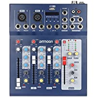 ammoon Mixer Digitale USB a 3 Canali con Alimentazione 48 V per Registrazione DJ