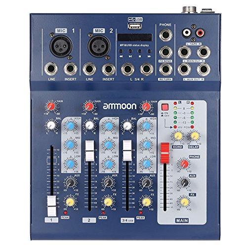 ammoon F4-USB 3 Kanal Digital Mikrofon Line Audio Mixer Mischkonsole mit 48V Phantomspeisung für Recording DJ Bühne Karaoke Musik Wertschätzung (Mixer Musik)