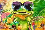 Poster Cooler Frosch mit Sonnenbrille trinkt Mojito Sommer summer time frog Cocktail - Größe 61 x 91,5 cm - Maxiposter