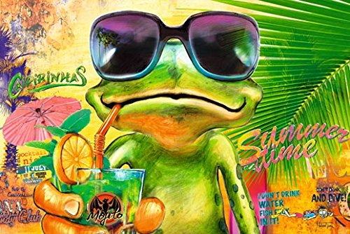 Poster Cooler Frosch mit Sonnenbrille trinkt Mojito Sommer summer time frog Cocktail - Größe 61 x 91,5 cm - Maxiposter