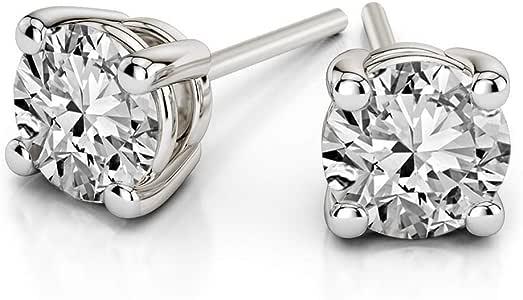 Orecchini da donna in oro bianco con diamante certificato IGI da 1/3 ct, orecchini a perno con diamante di alta qualità HI I1-I2 (orecchini a perno in oro bianco)