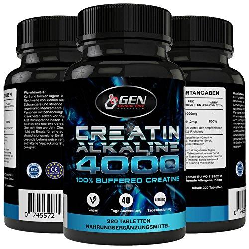 Monohydrat Tabletten Kreatin (Creatin 4000 - 320 Tabletten - 40 Tage Anwendung - 4000mg Tagesdosierung - Creatin Alkaline + Vitamin B6 - Unterstützung Muskelaufbau + Kraft)