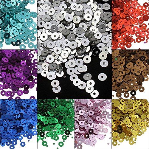 13200 Stk. Pailletten Ø 4mm 11 Farben Set Glatt Rund Perlen für DIY Kleidung und Schmuck, Handwerk Metallic Basteln Sequin Bombe (Blau Metallic-perlen-halskette)