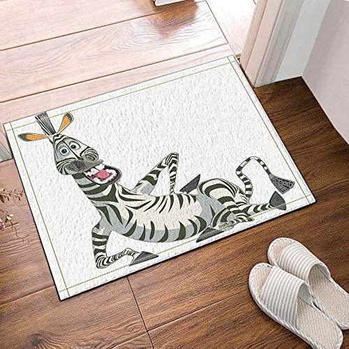 Vrupi Cartoon Kreative Design Zebra Bad Teppiche rutschfeste Fußmatte Boden Eingänge Outdoor Indoor Haustür Matte Kinder Badematte 15,7x23,6 Zoll Bad-Accessoires -