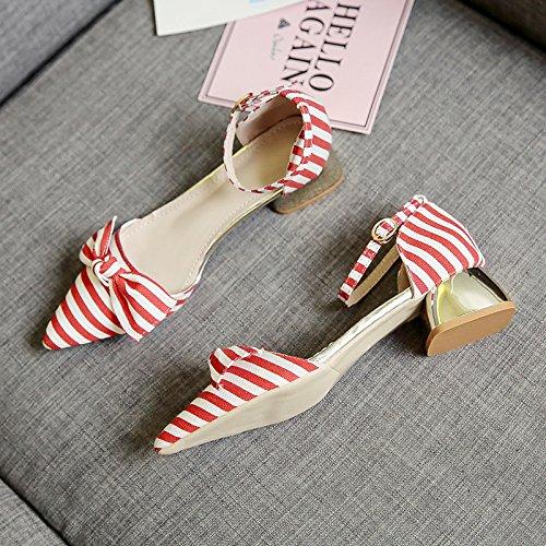 Rugai-eu Sandalias De Verano Mujeres Hebilla De Color Rayas Zapatos Arco Gules