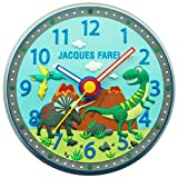 JACQUES FAREL WAL04 Dinos Kinderzimmer Wand Uhr lautlos Junge Kinderwanduhr geräuscharm Kunststoff Analog