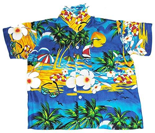 Hawaiihemd Hawaiisches Hemd Strand Jungen Madchen Blue XL
