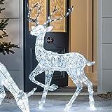Lights4fun - Reno Navidad en Hilo Blanco Iluminado por LED Blancos con Purpurina para...