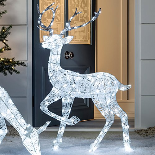 Lights4fun - Reno Navidad Hilo Blanco Iluminado LED