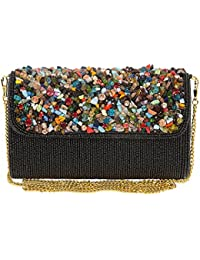 Unibrand - The Indian Handicraft Store With Semi Multicolor Opaque Stones And Small Black Beads Embedded Rectangular...