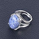 Anillo Ajustable Mujer,Encanto De Piedra Azul Natural Ovalada Con Incrustaciones De Plata Anillo De Cola De Nudillo Abierto A
