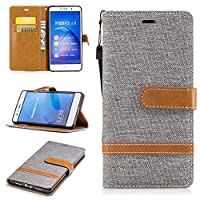 For Huawei P9 Lite Case [with Free Screen Protector], Qimmortal(TM) Premium Soft PU Leather Cowboy Cloth Wallet Cover Case with [Kickstand] Credit Card ID Slot Holder Magnetic Closure Design Folio Flip Protective Slim Skin Cover For Huawei P9 Lite(Gray)