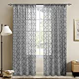 """TOPICK Moroccan Embroidery Curtains for Living Room Quatrefoil Textured Rod Pocket Lattice Window Curtain Set for Bedroom Geometry - 55"""" W x 84"""" L - (Grey, Set of 2 Panels)"""