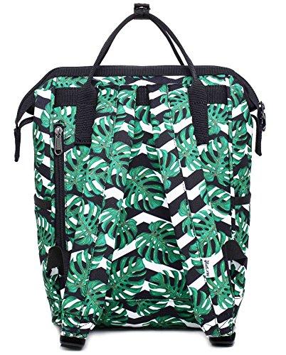 HotStyle DISA Fashion Blumen Damen Laptop Rucksack 9,7 zoll ( 37x23x14cm) - Rose Schwarz D191C, Tropische Blätter & chevrons