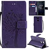 Ooboom® Sony Xperia XA2 Hülle Katze Baum Muster Flip PU Leder Schutzhülle Handy Tasche Case Cover Standfunktion mit Kartenfächer für Sony Xperia XA2 - Lila
