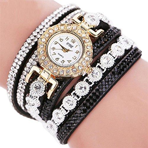Armbanduhr Damen Uhr 2018 Böhmen Luxuriös Armbänder Frauen Mode Lässig Analog Quarz Strass Damenuhr Beige 13 Farben (Standard, Schwarz)