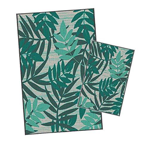 Outdoorteppich Set Korhani Campbell 2-teilig Gartenteppich 160x213/80x112 cm Beige/Hellgrün/Dunkelgrün 100% Polypropylen (UV-behandelt) Balkonteppich Terrassenteppich