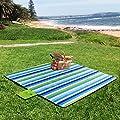 WolfWise 200 x 200cm XXL Picknickdecke, Wasserdichte Campingdecke Stranddecke Outdoordecke, aus Weiches Fleece mit Tragegriff, Waschbar und Sandfrei, Blau&Grün