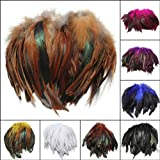Bluelover 100Pcs Moda Fluffy Gallo Pluma Arte Diy 6-8 - Negro
