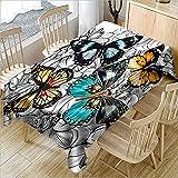 hhlwl Tischdecke Home Party Dekoration Tischdecke 3D Farbe Schmetterling Platz Leicht Tischdecke Abwischen, 228 X 228 cm