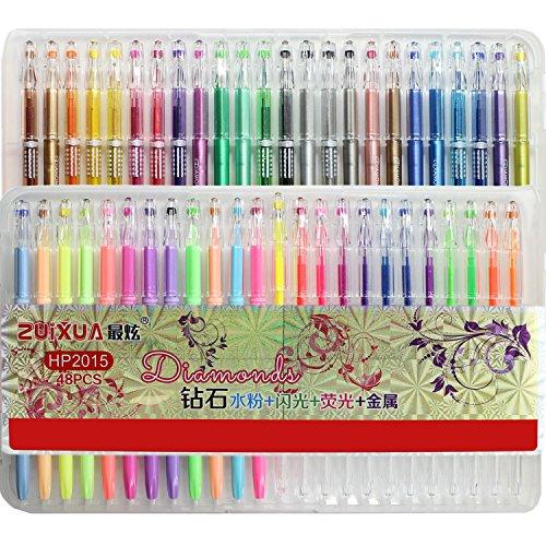 taotree-premium-48-stuck-gelschreiber-gelstifte-farbstift-set-mit-plastikbehalter-ideal-fur-die-scra