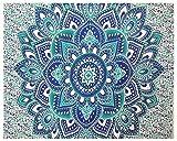 Telo indiano, hippie, bohemian, Psichedelico, floreale, colore: blu e verde, grande, con mandala, arazzo da parete
