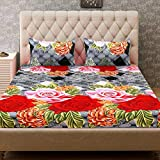 RS Home Furnishing Floral Design Print 100% Premium Cotton King Size Double Bedsheet with 2 Pillow Covers Multi Colour