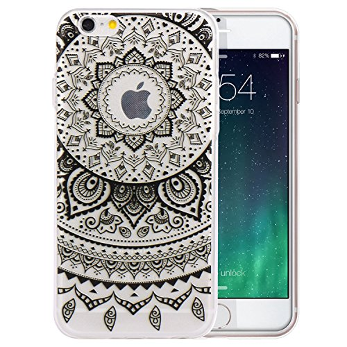 JIAXIUFEN TPU Gel Silicone Protettivo Skin Custodia Protettiva Shell Case Cover Per Apple iPhone 6 6S - Black Circle Flower Tribal Mandala
