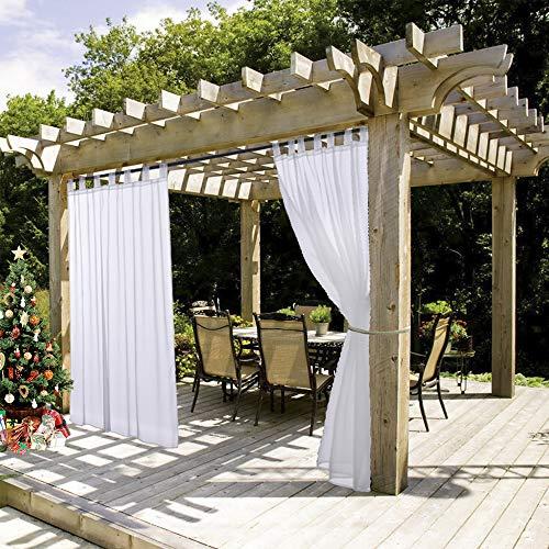nicetown One Panel Tab Top Outdoor Sheer Vorhänge, Textil, weiß, W54 x L84 (Weiße Vorhänge-panels)