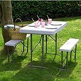Vanage Camping, Bierzeltgarnitur klappbar, Gartenmöbel Set inkl. 2 Bänke und Tisch, ineinander verstaubar, weiß Test