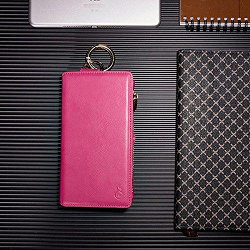 Inovey Per Iphone 6 6S 4.7 Pollici 2 In 1 Multi-Slot Pu In Pelle Staccabile Con Cerniera Portafoglio Kickstand Case - Brown Rosa