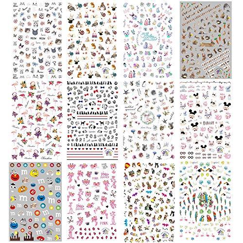 Kalolary 840+Muster Tiere nagelsticker selbstklebend Nagelaufkleber Nail Art Sticker Nagel Abziehbilder für Mädchen Mitgebsel Kindergeburtstag DIY Nagel Kunst Dekoration ...