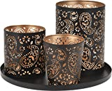 4tlg Teelichthalter Set Tablett Weihnachten Kerze Teelicht Windlicht Winter XMAS, Farbe:Gold