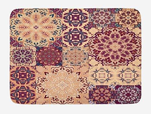St574ony Bath Rug Moroccan Bath Mat, Large Set of Colorful Vintage Ceramic Tiles Arabesque Authentic Floral Forms, Plush Bathroom Decor Mat, 16x 24 Inches, Peach Orange Red Set Ceramic Tile