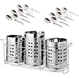 Zero To Infinity Store Stainless Steel Spoon Holder & Stand Set of 3 with 12 Spoons | Cutlery Holder with Stand Set of 3 New